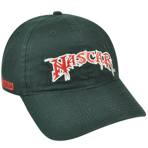 Nascar Garment Wash Slouch Relaxed Sun Buckle Black Curved Bill Hat Cap Racing