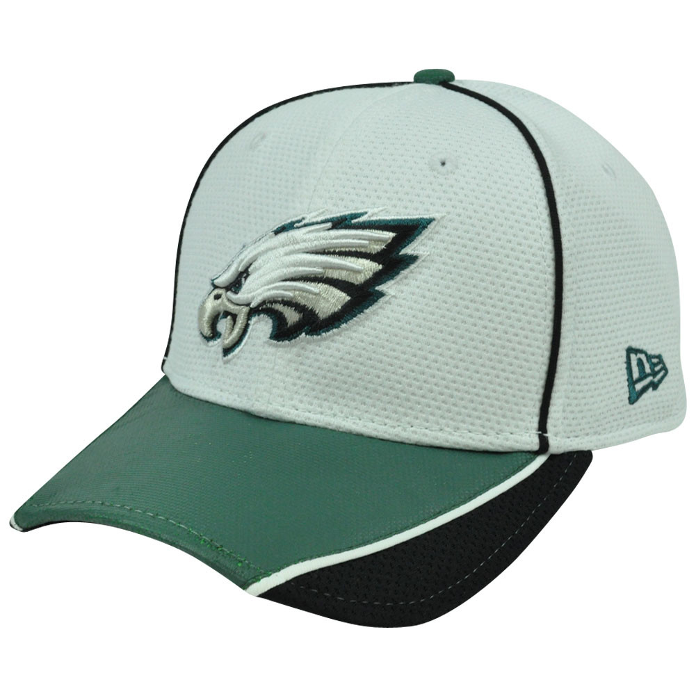 d0c4a5b0a NFL New Era 39Thirty Abrasion Flex Fit White Hat Cap Philadelphia ...