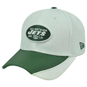 NFL New Era 3930 39Thirty Abrasion Flex Fit White Hat Cap New York Jets L/XL