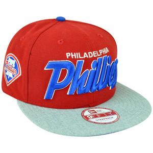 4c4abaa7db5 MLB New Era 9Fifty Philadelphia Phillies Team Script Heather Strap Back Hat  Cap