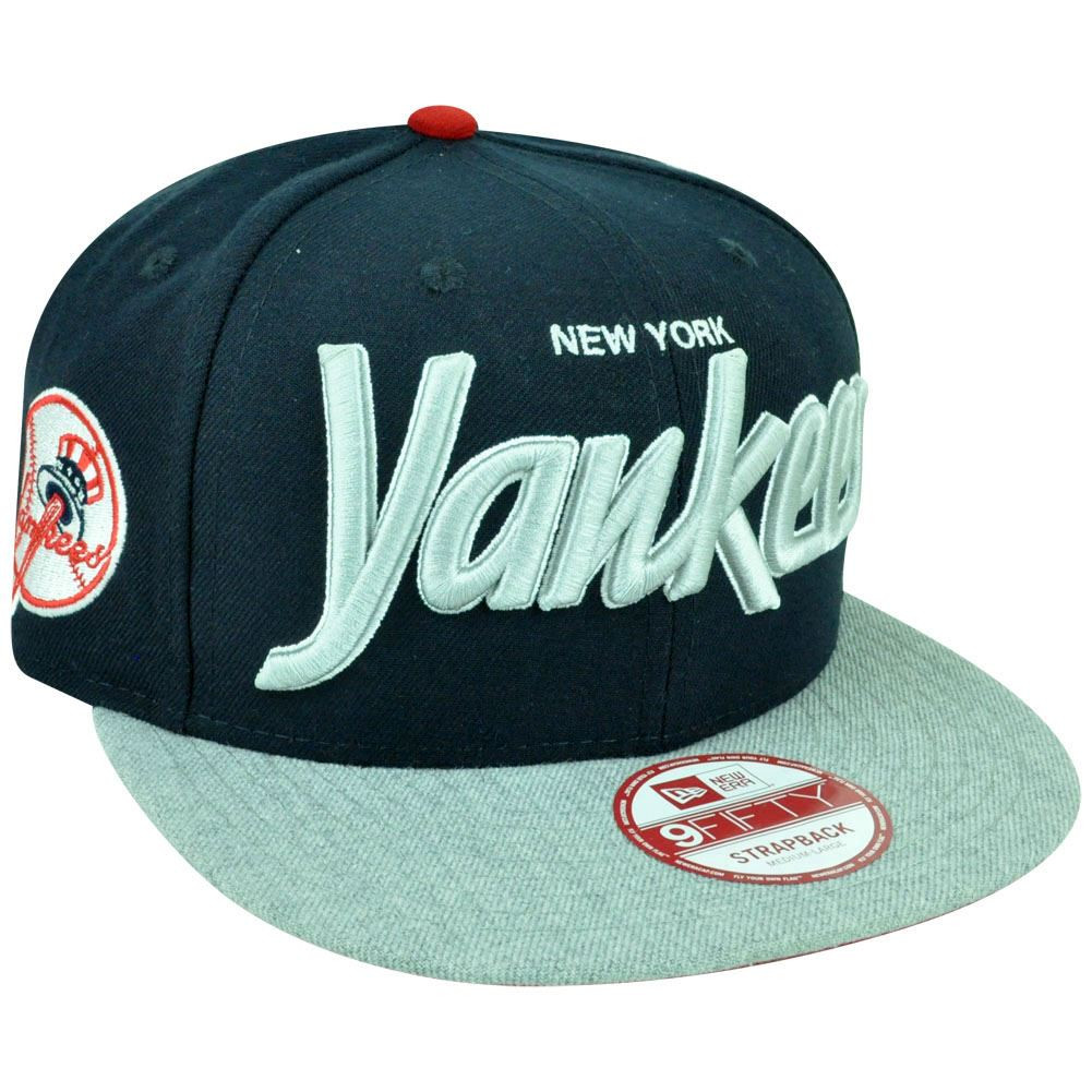 ad71af75e0e MLB New Era 9Fifty New York Yankees Team Script Heather Strap Back ...
