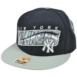 MLB '47 Brand New York Yankees BLK Block MVP Snapback Flat Brim Two Tone Hat Cap
