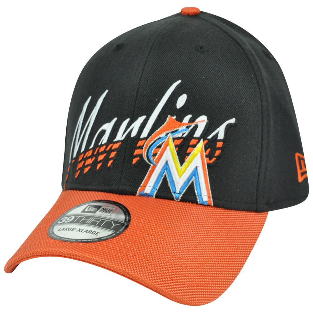 0d3cbb8e2a6 MLB Miami Marlins New Era 3930 39Thirty Double Edge Stretch Flex Fit ...