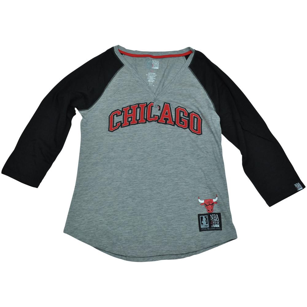 e677dc6a9c6c Chicago Bulls Unk NBA Half Sleeve Tee Button Vneck Shirt Women ...