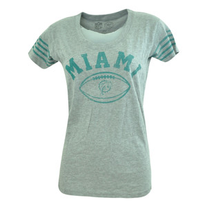 NFL '47 Brand Miami Dolphins Women Ladies Hot Shot Scoop Neck Tshirt Tee