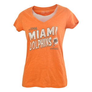 NFL '47 Brand Womens Ladies Miami Dolphins Team Start Scrum VNeck Tshirt Tee