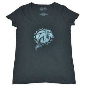 NFL 47 Brand Miami Dolphins Women Ladies Logo Scrum Vneck Tee Grey DW4501