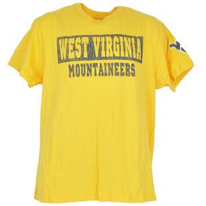 NCAA Distressed West Virginia Mountaineers Yellow Mens Adult Tshirt Tee
