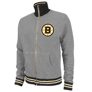 NHL Mitchell & Ness 6024 Vintage French Terry Track Jacket Boston Bruins Gray