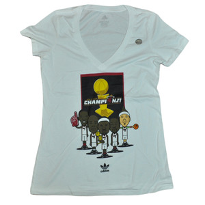 NBA Adidas Miami Heat 2013 Champions Women Ladies Vneck Trophy Tshirt Tee Large