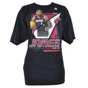 NBA Adidas Miami Heat Lebron James 6 XXLarge 2XL Tshirt Tee Basketball Black