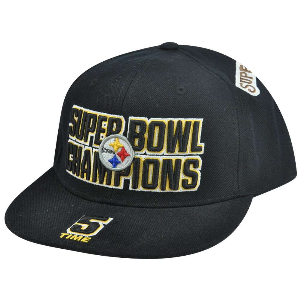 13773a0b8f9 NFL Reebok Pittsburgh Steelers 5 Time Champions Fitted Flat Bill Hat ...