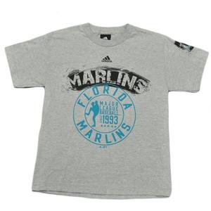 MLB Adidas Licensed Florida Miami Marlins Youth Junior Size T shirt Tee Gray