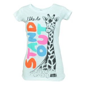 Animal Planet I Like To Stand Out Giraffe Junior Girls Scribbled Tshirt Tee