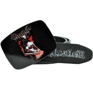 Hustler Card Logo Hardcore 8-1010 Black Leather Belt Buckle Adult Waistband