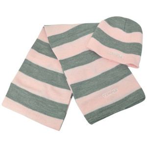 NCAA American Needle Temple Owls Women Ladies Knit Scarf Combo Striped Beanie