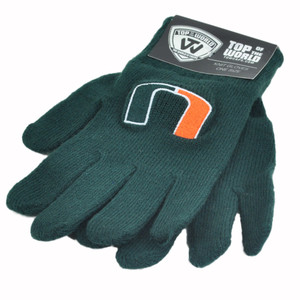 NCAA Miami Hurricanes UM Knit Woven Winter Snow Cold Gloves Pair One Size Green