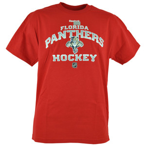 NHL LNH Reebok Florida Panthers Center Ice Team Tshirt Mens Adult Red Tee