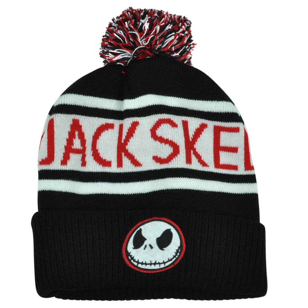 aa9cecb935178 Jack Skellington Nightmare Before Christmas Knit Beanie Pom Cuffed ...