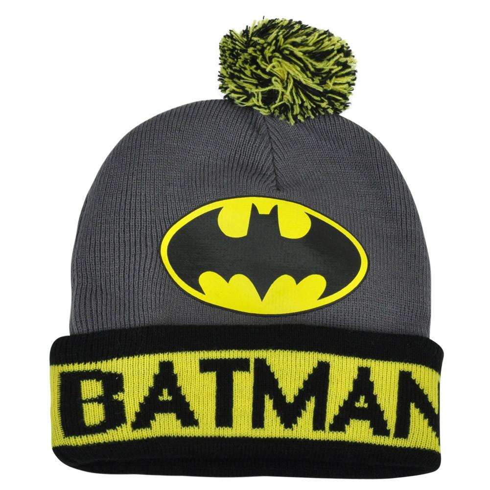 DC Comics Batman Pom Pom Beanie Knit Cuffed Toque Cartoon Dark Knight Grey  Hat. Image 1 f8c687fe6cfd