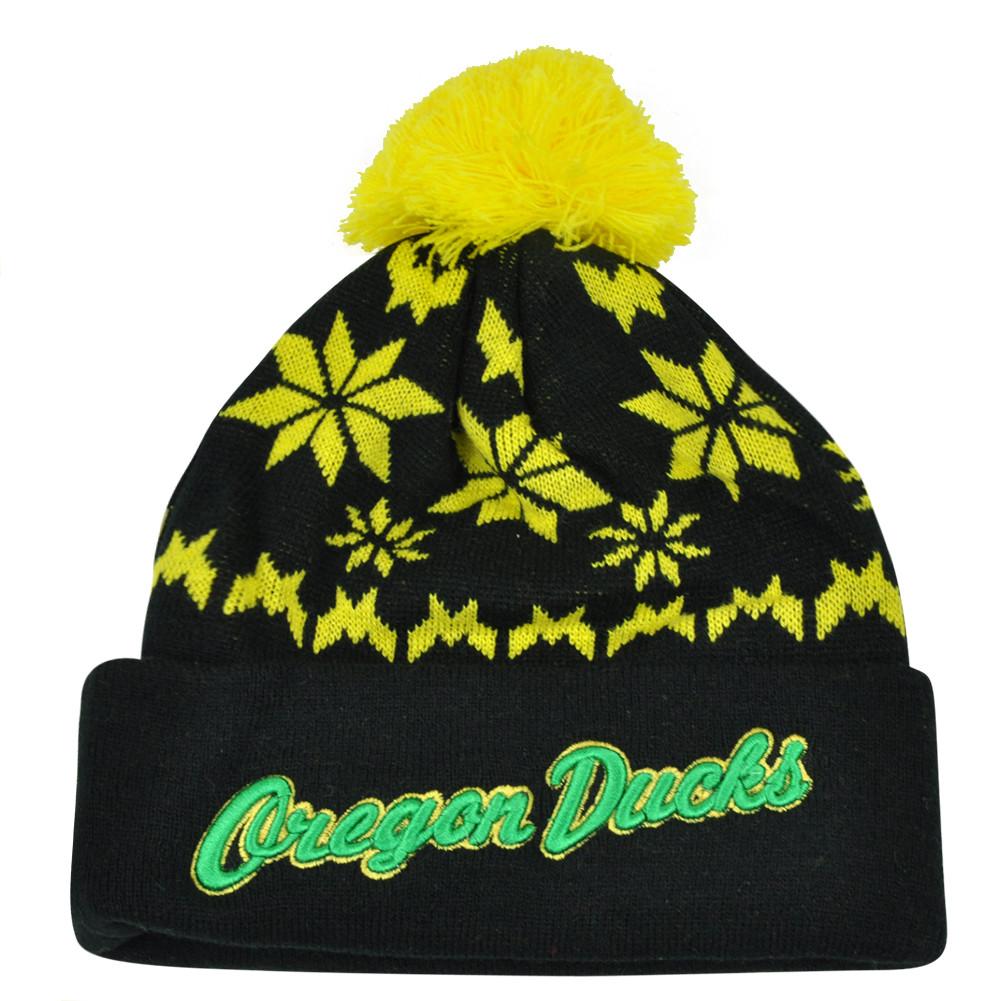 3b3360e68775 NCAA Zephyr Oregon Ducks Custom Script Snowflake Pom Cuffed Beanie ...