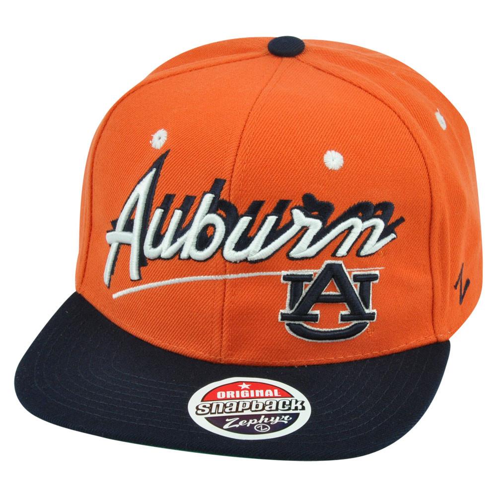f85d73d6a0e80 NCAA Zephyr Auburn Tigers Shadow Script Snapback Flat Bill Adjustable Hat  Cap. Image 1