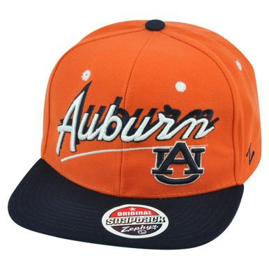 907b8f77183 ... low price ncaa zephyr auburn tigers shadow script snapback flat bill  adjustable hat cap c1088 cc49f