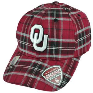 NCAA Top of the World Oklahoma Sooners Plaid Maroon Adjustable Velcro Hat Cap