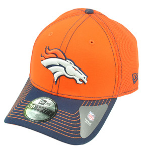 NFL New Era 39Thirty 3930 Denver Broncos 2 Tone Neo Orange L/XL Flex Fit Hat Cap