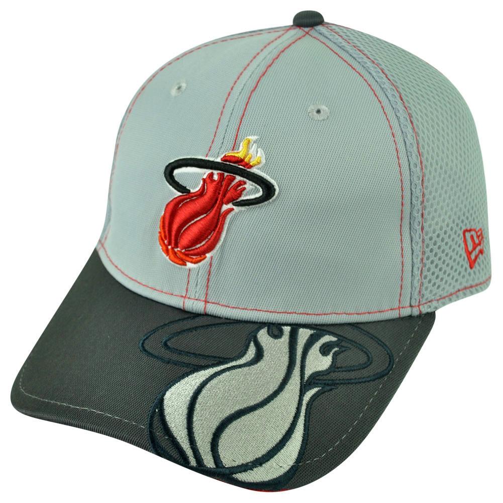 e794a2b7300 NBA New Era 3930 Miami Heat Flex Fit Medium Large Logo Crop Neo ...