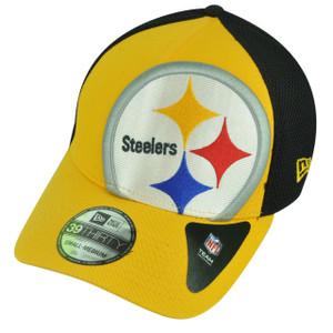 NFL New Era 3930 Pittsburgh Steelers Flex Fit Small Medium Logo Blimp Neo Hat