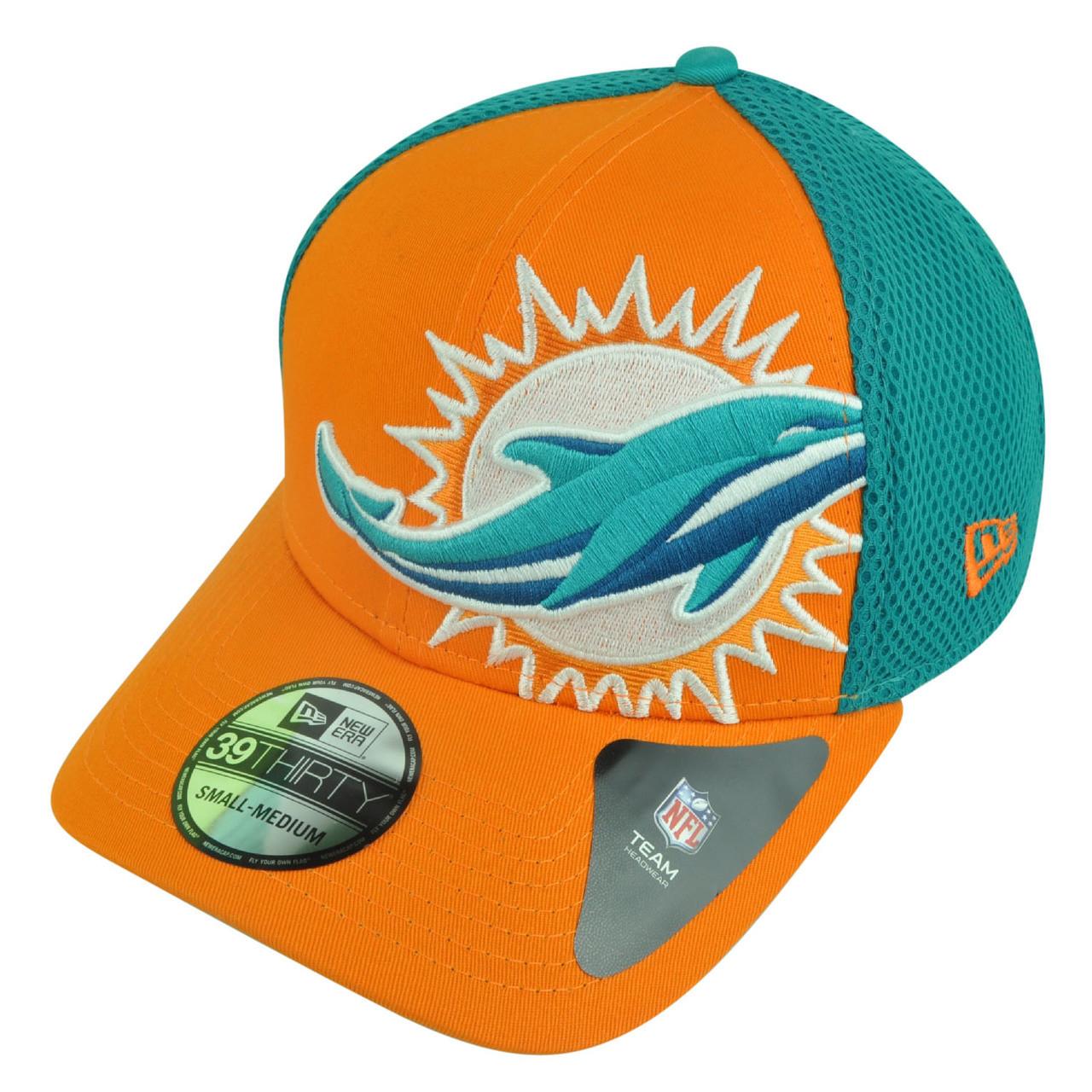 a0d6709df53 NFL New Era 3930 Miami Dolphins Flex Fit Small Medium Logo Blimp Neo ...