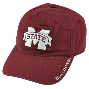 NCAA Mississippi State Bulldogs Burgundy Slouch Relaxed Collage Velcro Hat Cap