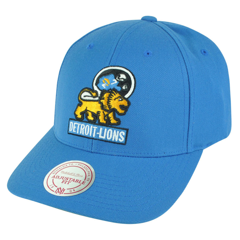 NFL Mitchell Ness Detroit Lions NJ33 Logo Solid Snapback Curved Bill ... 23c83b616