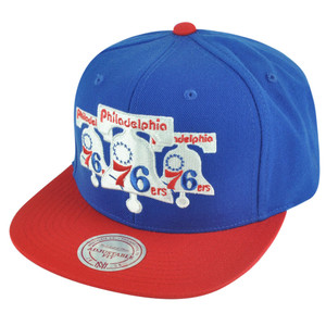 NBA Mitchell Ness HWC Philadelphia 76ers NP57 Triple Stack Logo Snapback Hat Cap
