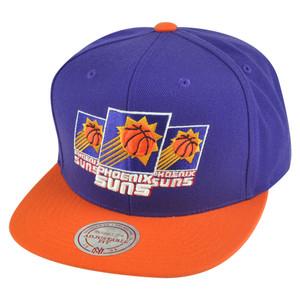 NBA Mitchell Ness Phoenix Suns NP57 Triple Stack Logo Flat Bill Snapback Hat Cap