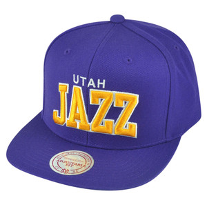 NBA Mitchell Ness Utah Jazz NZH88 Purple Arch Solid Snapback Flat Bill Hat Cap