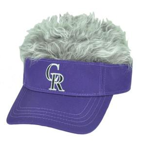 MLB Colorado Rockies Creed Flair Purple Grey Hair Visor Faux Fur Velcro Hat Cap