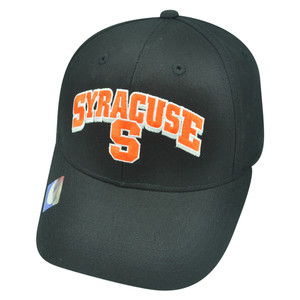 NCAA Syracuse Orange Cuse Kicker Black Arch Twill Cotton Velcro College Hat Cap