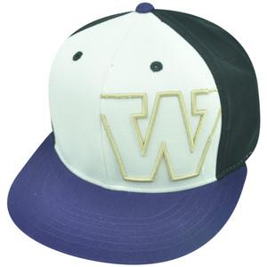 NCAA Washington Huskies Nagelle Flat Bill Velcro Strapback Hat Cap White Purple
