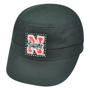 NCAA Nebraska Cornhuskers Delia Women Ladies Military Fatigue Rhinestone Hat Cap