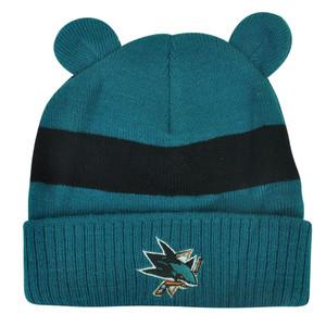 NHL San Jose Sharks Timmy Ears Infant Glove Knit Cuffed Winter Beanie Stripe Hat