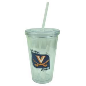 NCAA Virginia Cavaliers Tumbler Cup Straw Lid 16oz Water Plastic Sip N Go Clear