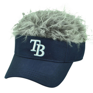 MLB Tampa Bay Rays Creed Flair Purple Grey Hair Visor Faux Fur Velcro Hat Cap