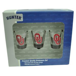 NCAA Oklahoma Sooners Drinkware Set 3pc Shot Glasses Party Printed Logo Drink
