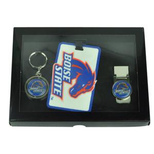 NCAA Boise State Broncos Key Chain Money Clip Id Holder Men Gift Set Blue Sport