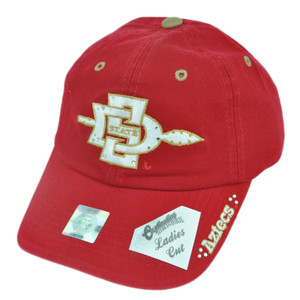 NCAA San Diego State Aztecs Ladies Cut Womens Garment Wash Red Velcro Hat Cap
