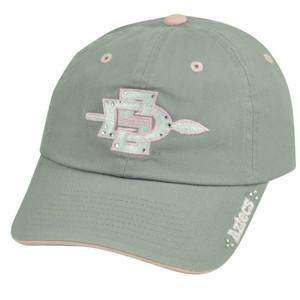 NCAA San Diego State Aztecs Ladies Cut Rhinestone Grey Garment Wash Hat Cap Gems