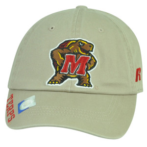NCAA Maryland Terps Russell Garment Wash Relaxed Hat Cap Sun Buckle Beige Sport