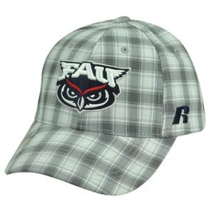 NCAA Florida Atlantic Owls Russell Grey Plaid Velcro Adjustable Hat Cap Caddy